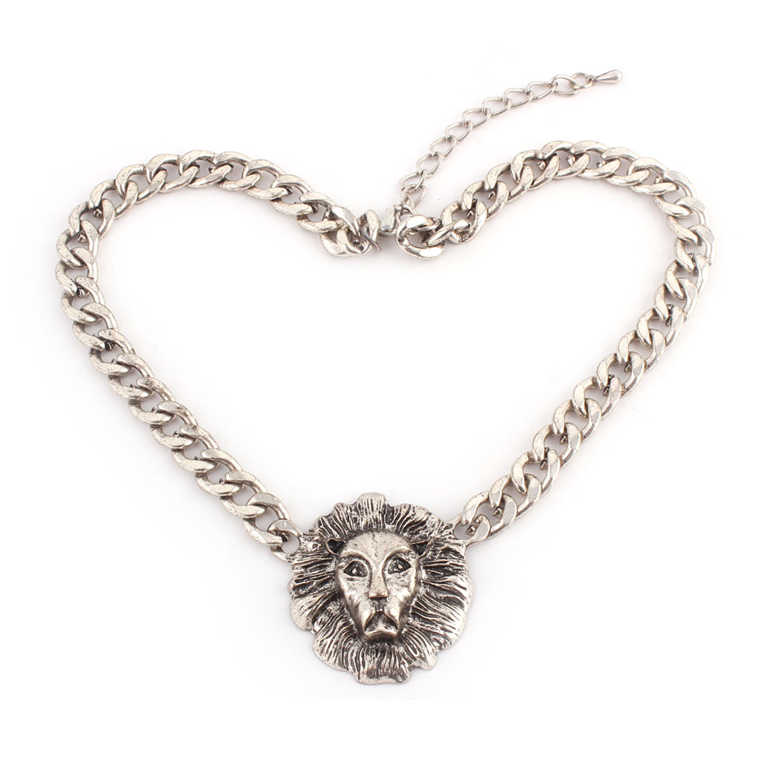 Metal Lion Design Pendant Lobster Clasp Chain Necklace Clothes Decor Silver Tone