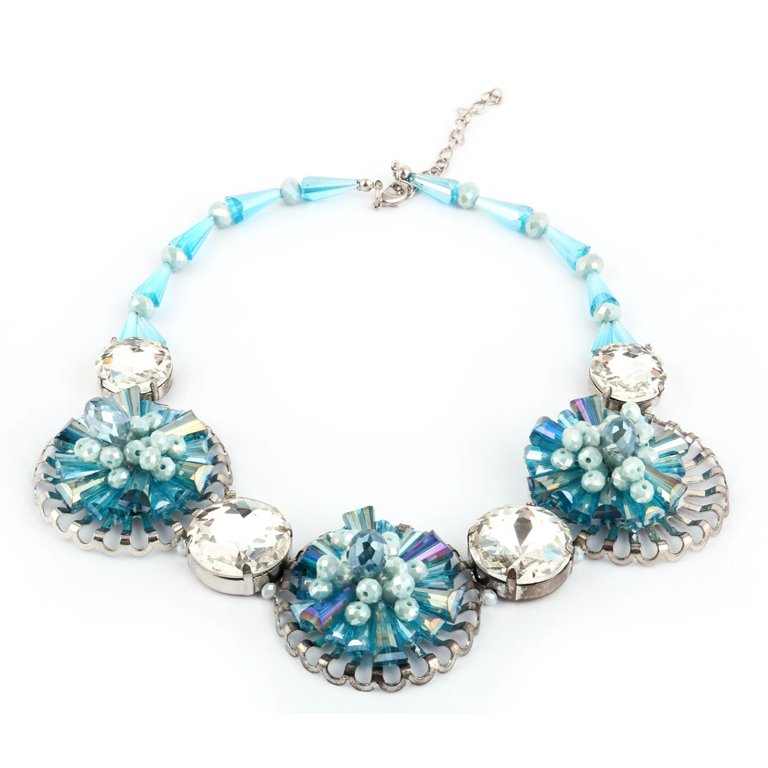 Lady Rhinestone Inlaid Statement Charm Cluster Chunky Necklace Neck Chain Choker Blue