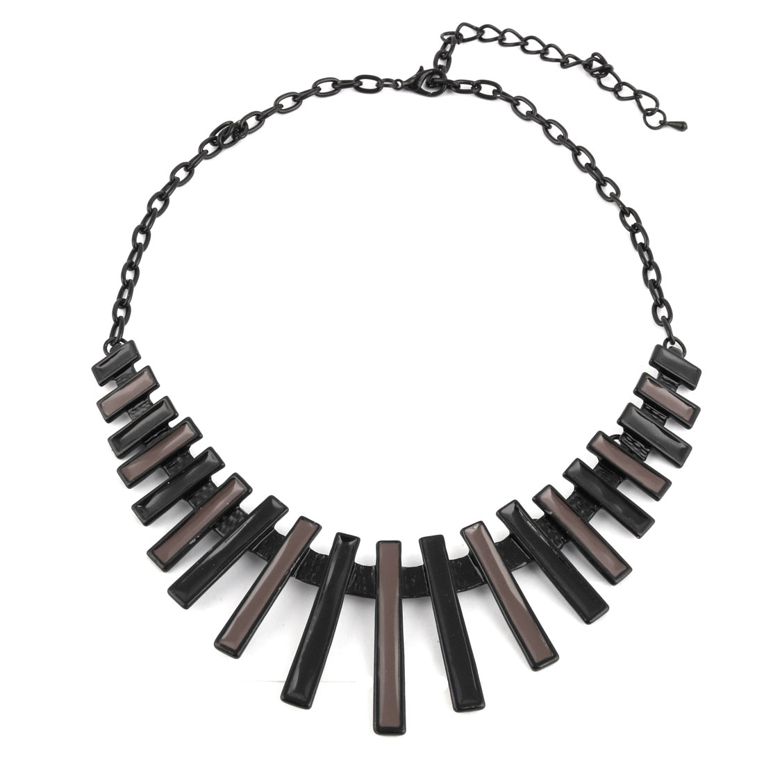 Metal Bar Pattern Statement Chunky Necklace Neck Chain Decoration