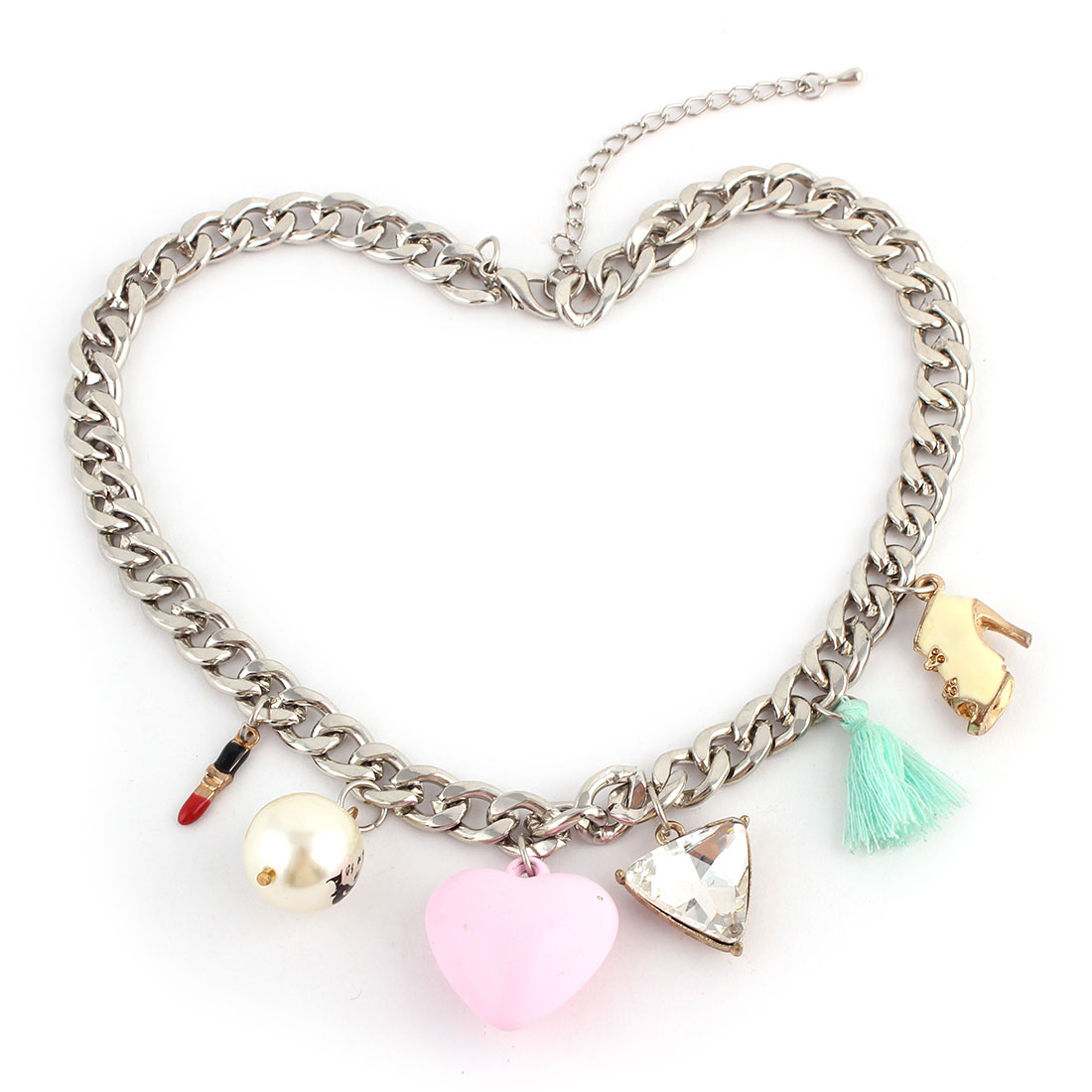 High-heel Shoe Heart Bead Pendant Lobster Buckle Thick Chain Necklace