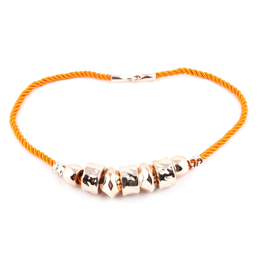 Woman Cylindrical Beads Neck Chain Necklace Statement Chunky Decor Orange