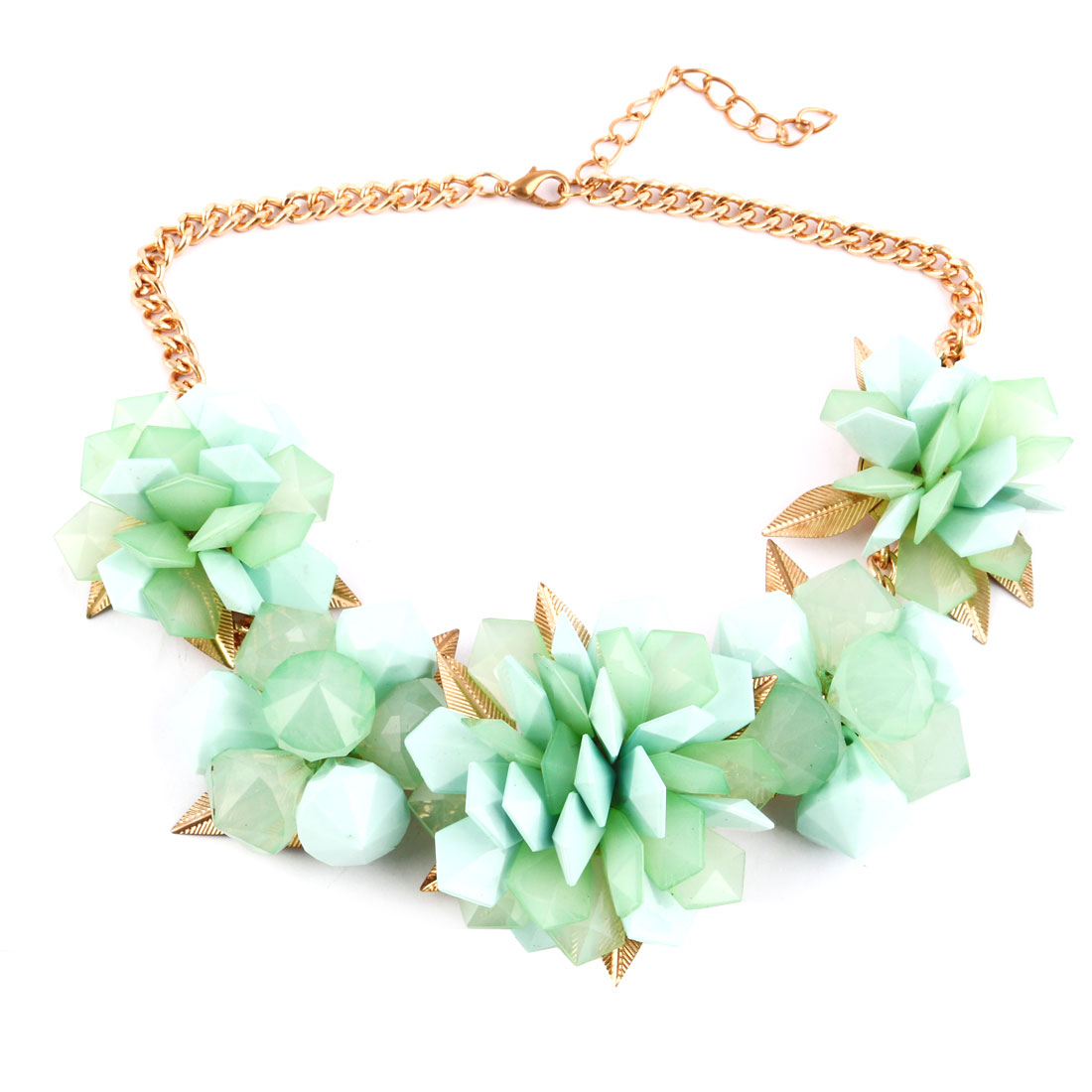 Plastic Flower Cluster Decoration Neck Chain Statement Chunky Necklace