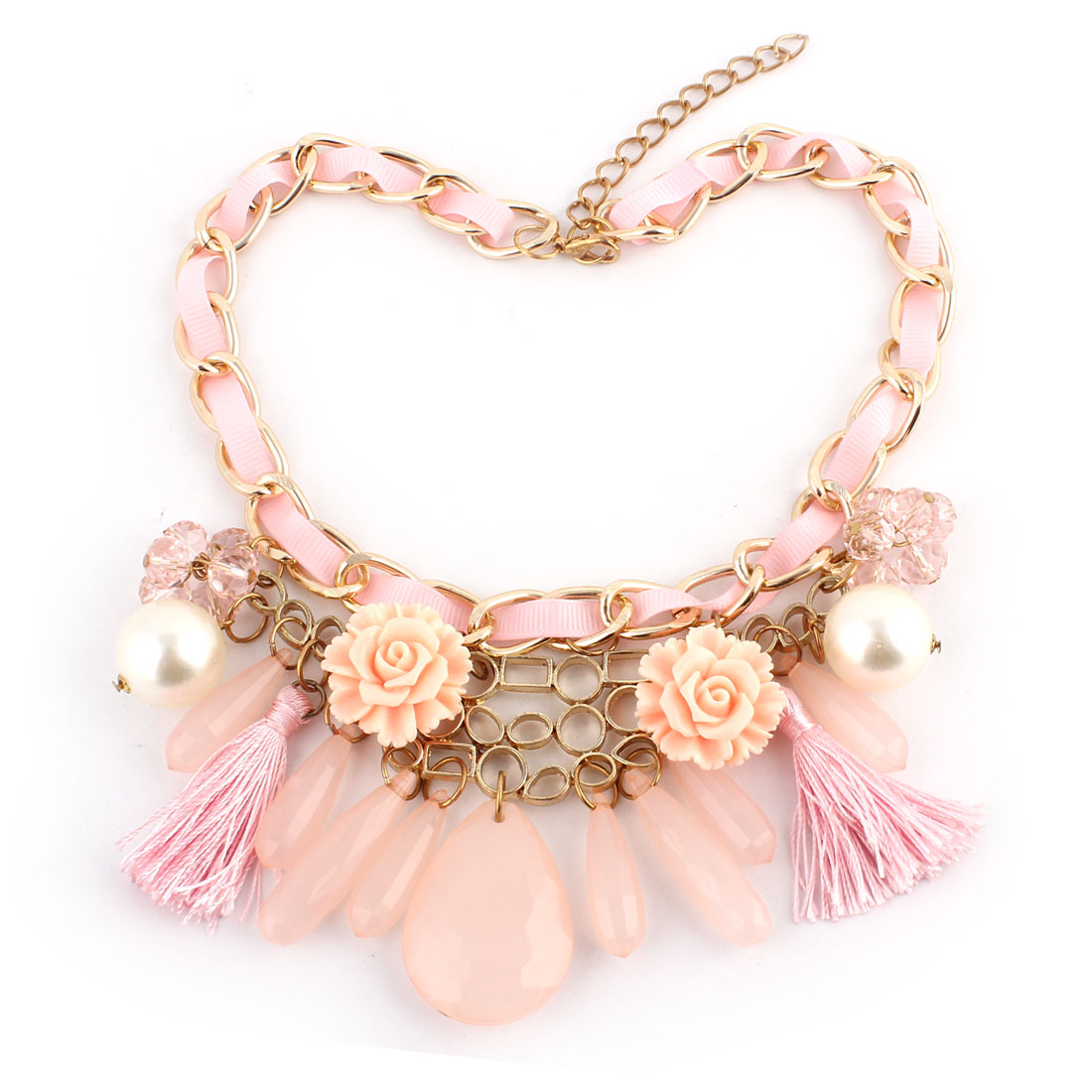 Water-drop Shape Pendant Beads Flower Tassels Decor Lobster Clasp Chain Necklace