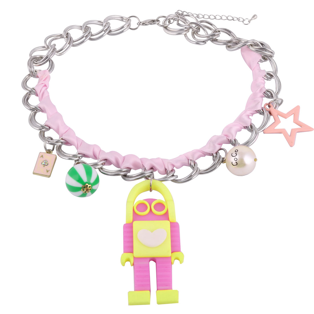 Headphone Wearing Robot Pendant Charm Statement Neck Chain Necklace