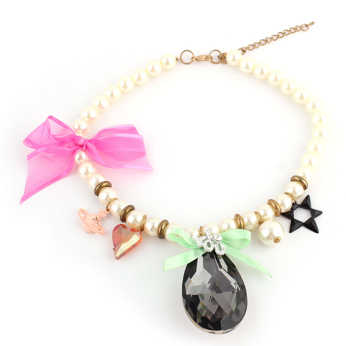 Water-drop Shape Pendant Ring Decor Lobster Buckle Chain Imitation Pearl Necklace