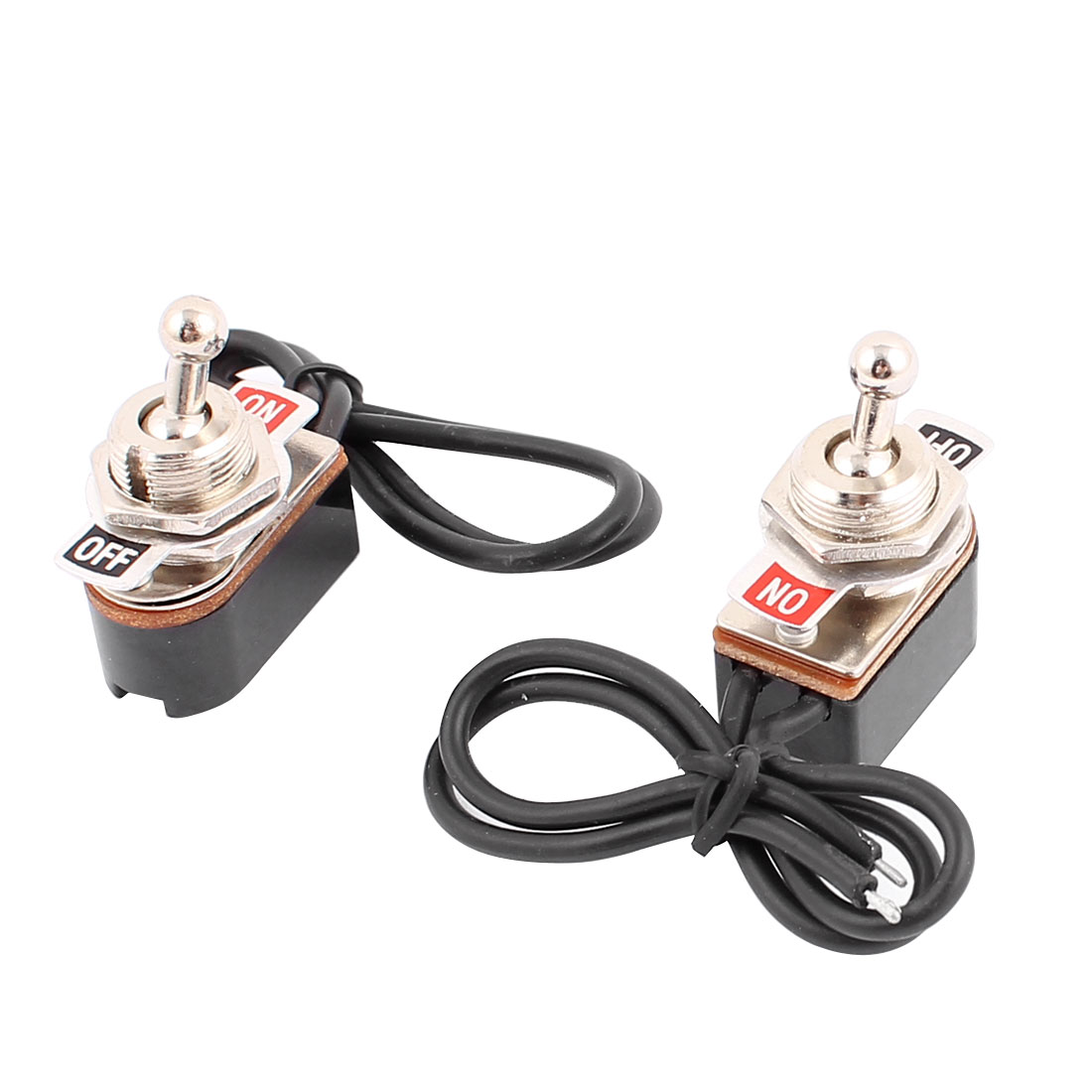 2 Pcs 250VAC 3A 125VAC 6A SPST ON-OFF 2 Positions Self Locking Power Toggle Switch