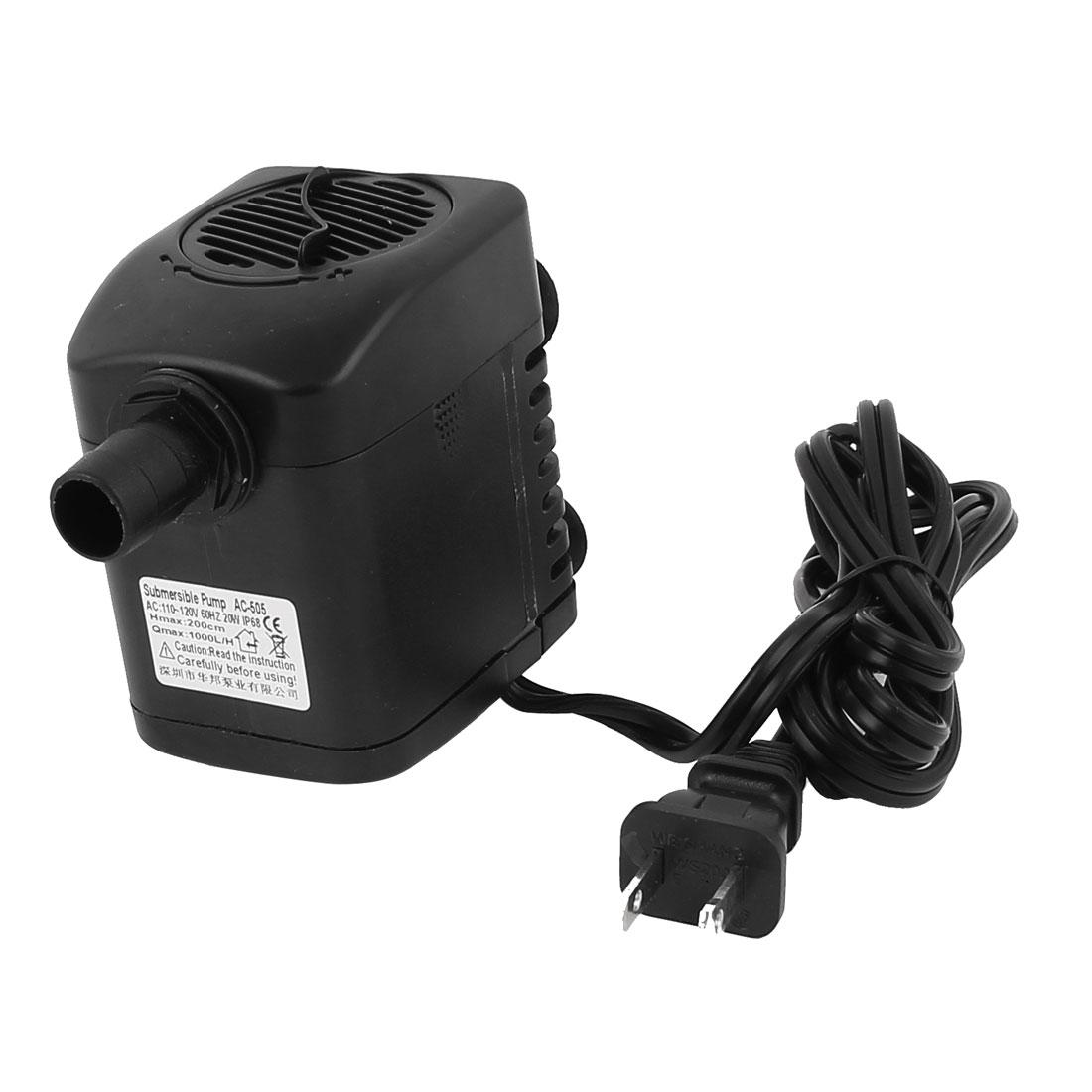 AC 110V US Plug 20W Electric Submersible Water Pump Aquarium Fountain