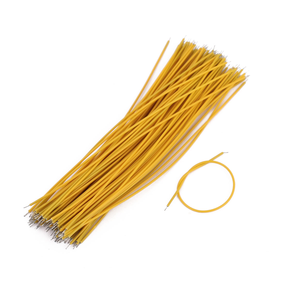 0.7mm x 100mm Dual Head Electric Insulated Flexible PVC Wire Cable Yellow 100Pcs