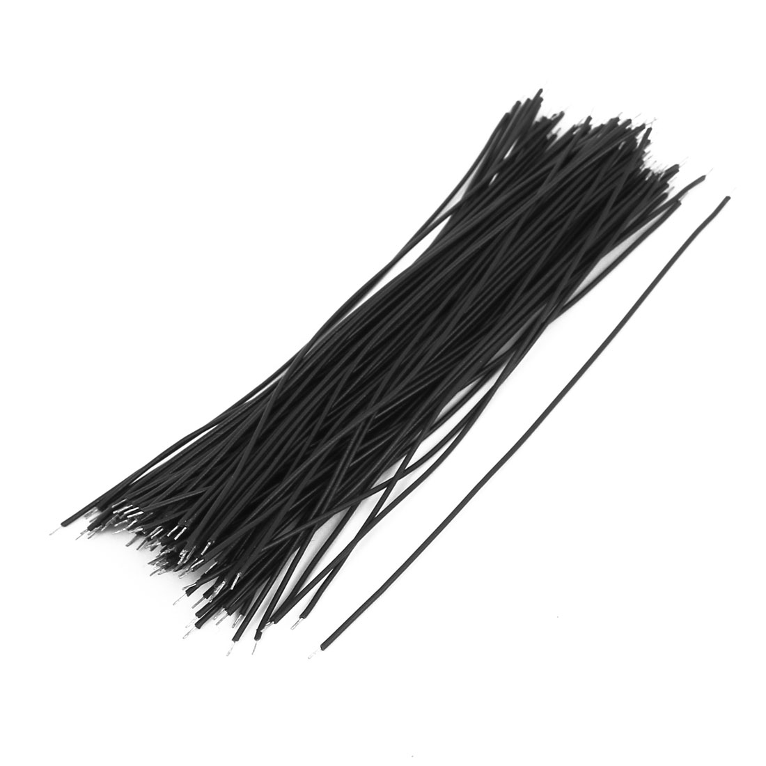 0.7mm x 100mm Dual Head Electric Insulated Flexible PVC Wire Cable Black 100Pcs