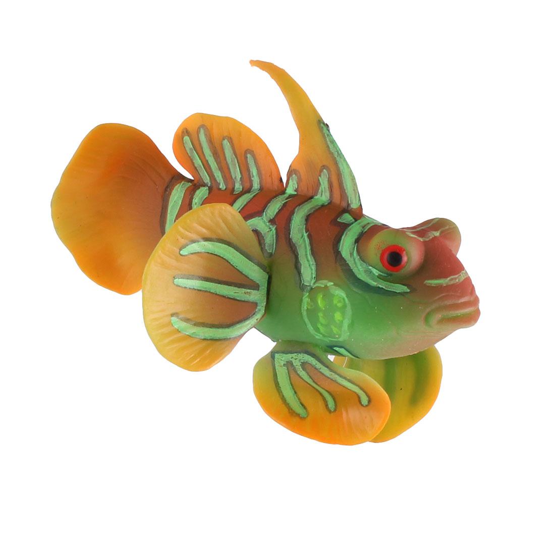 Aquarium Silicone Artificial Floating Tropical Fish Decoration Green Orange