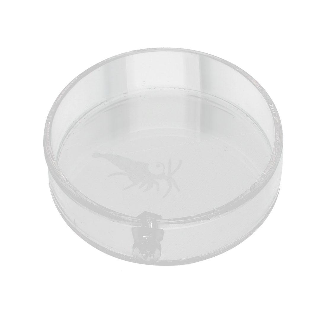 Aquarium Plastic Round Shaped Feeder Dish Plate Vessel Clear 6cm Dia for Shrimp