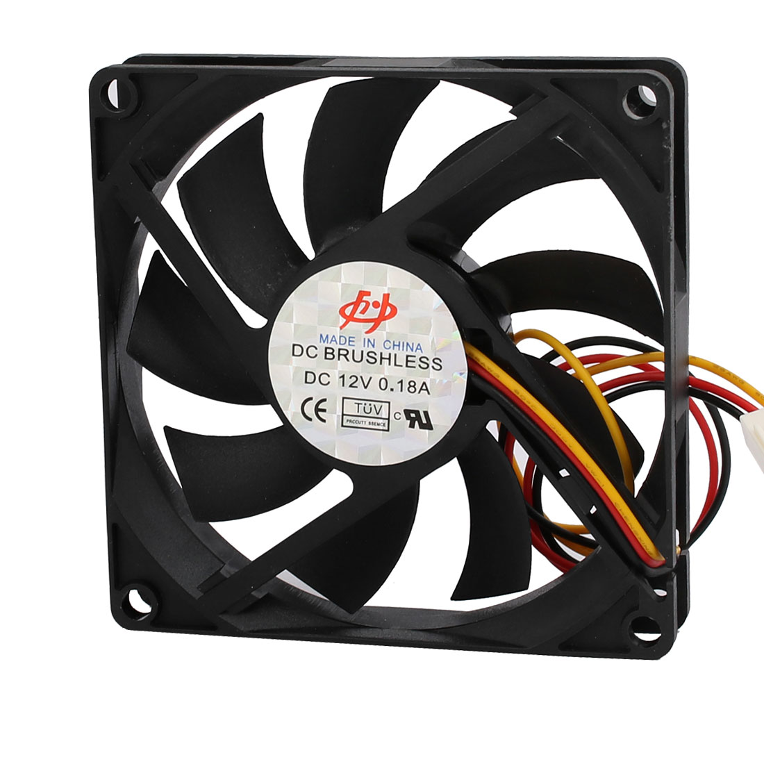 DC 12V 0.18A 9 Vanes Brushless Cooling Fan 80mm x 80mm x 15mm Black