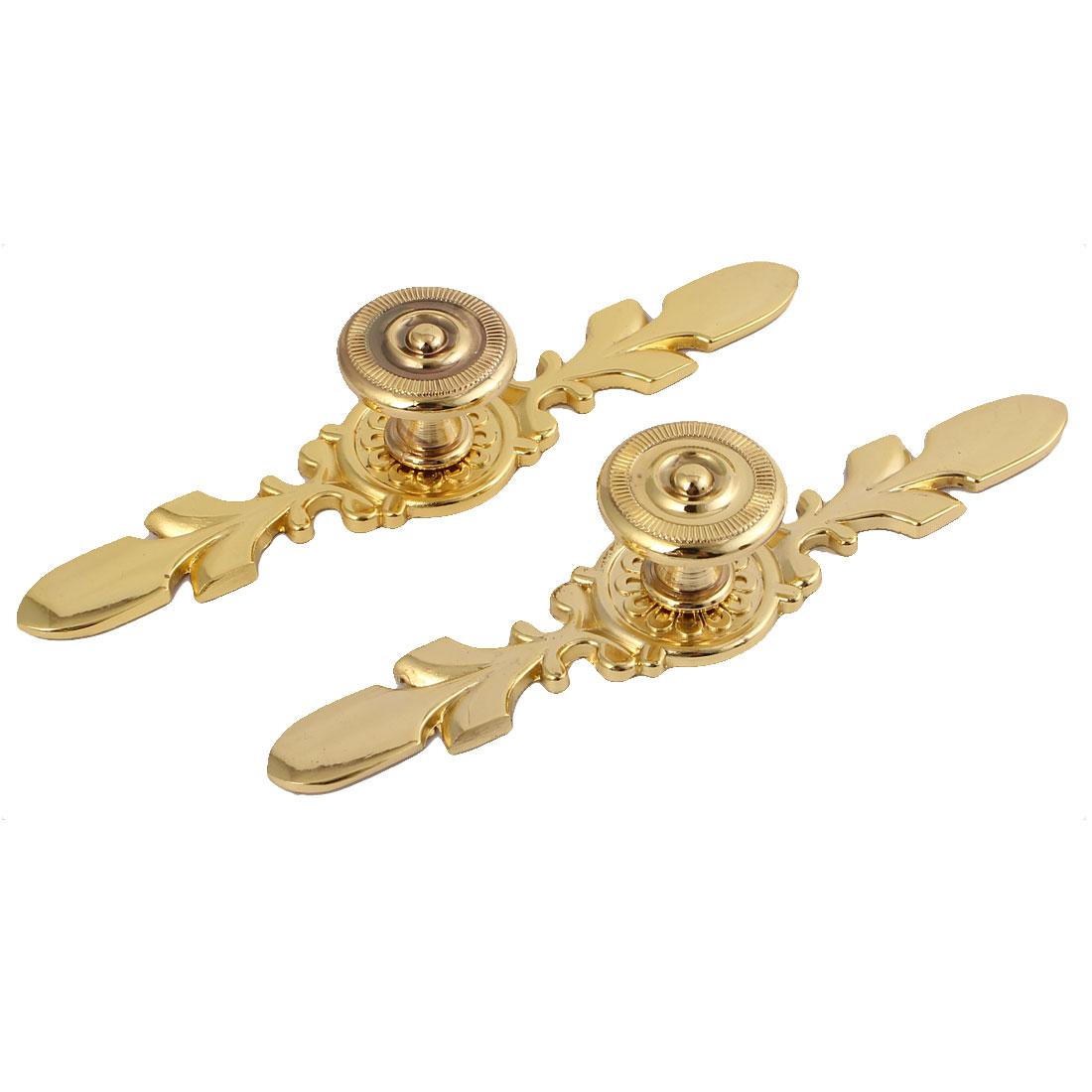 Wardrobe Drawer Door Retro Style Metal Pull Handle Gold Tone 2pcs