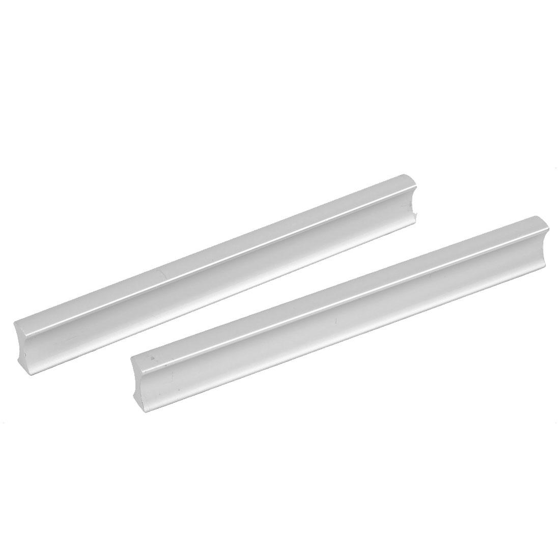 128mm Mount Distance Kitchen Cupboard Dresser Rectangular Pull Handle Silver Tone 2pcs