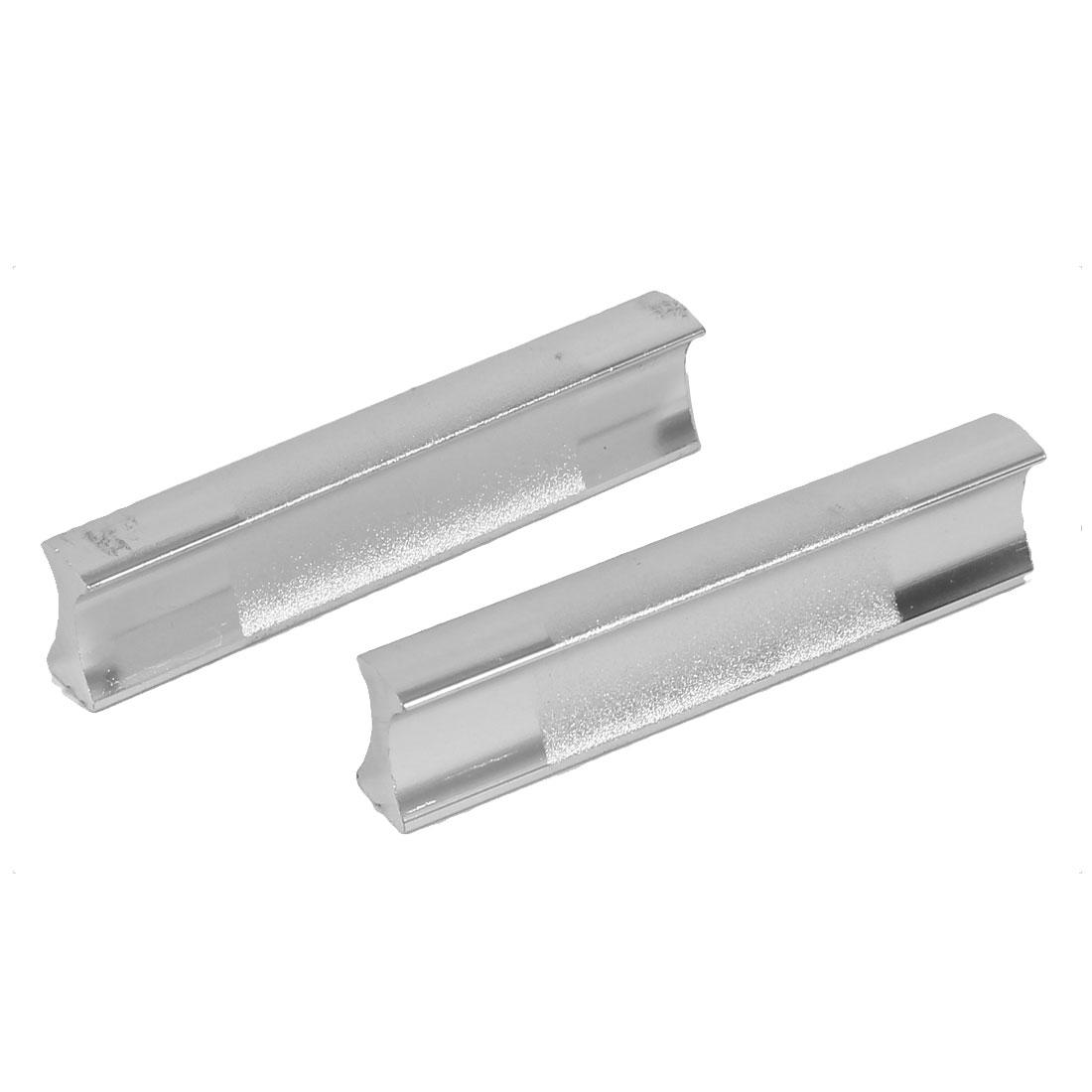 64mm Spacing Rectangular Pulls Cabinet Dresser Sliding Door Handle Silver Tone 2 Pcs