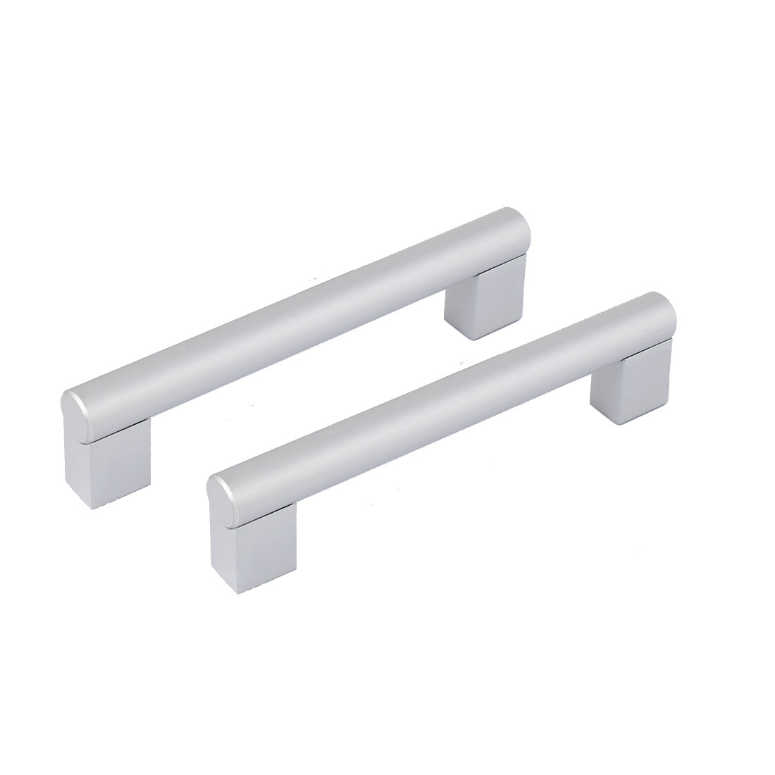 128mm Mounting Hole Center Furniture Cabinet Door Pull Handle Silver Tone 2pcs