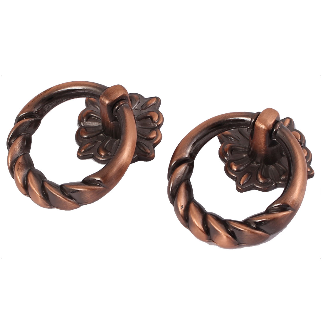 Cabinet Dresser Metal Round Knob Door Pull Ring Handle Copper Tone 2pcs