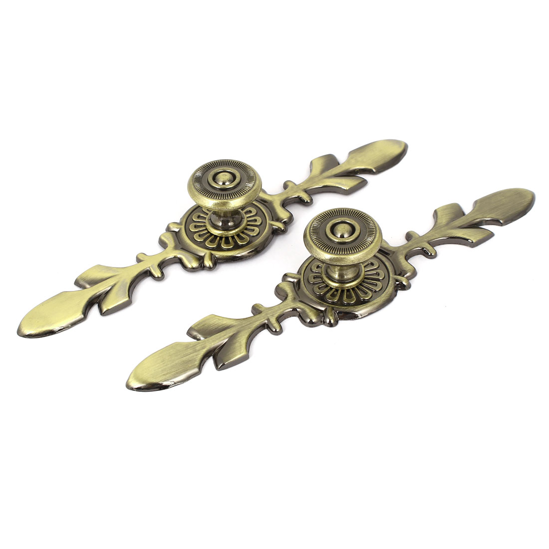 Cabinet Drawer Flower Design Pull Handle Bronze Tone 2 Pcs