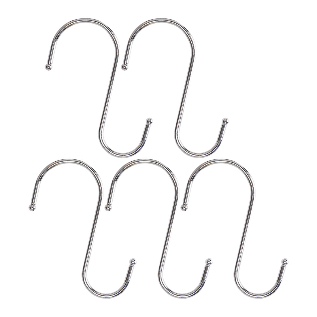 Stainless Steel S Shaped Kitchen Pot Pan Clothes Hanger Hook 9.5cm Long 5 PCS