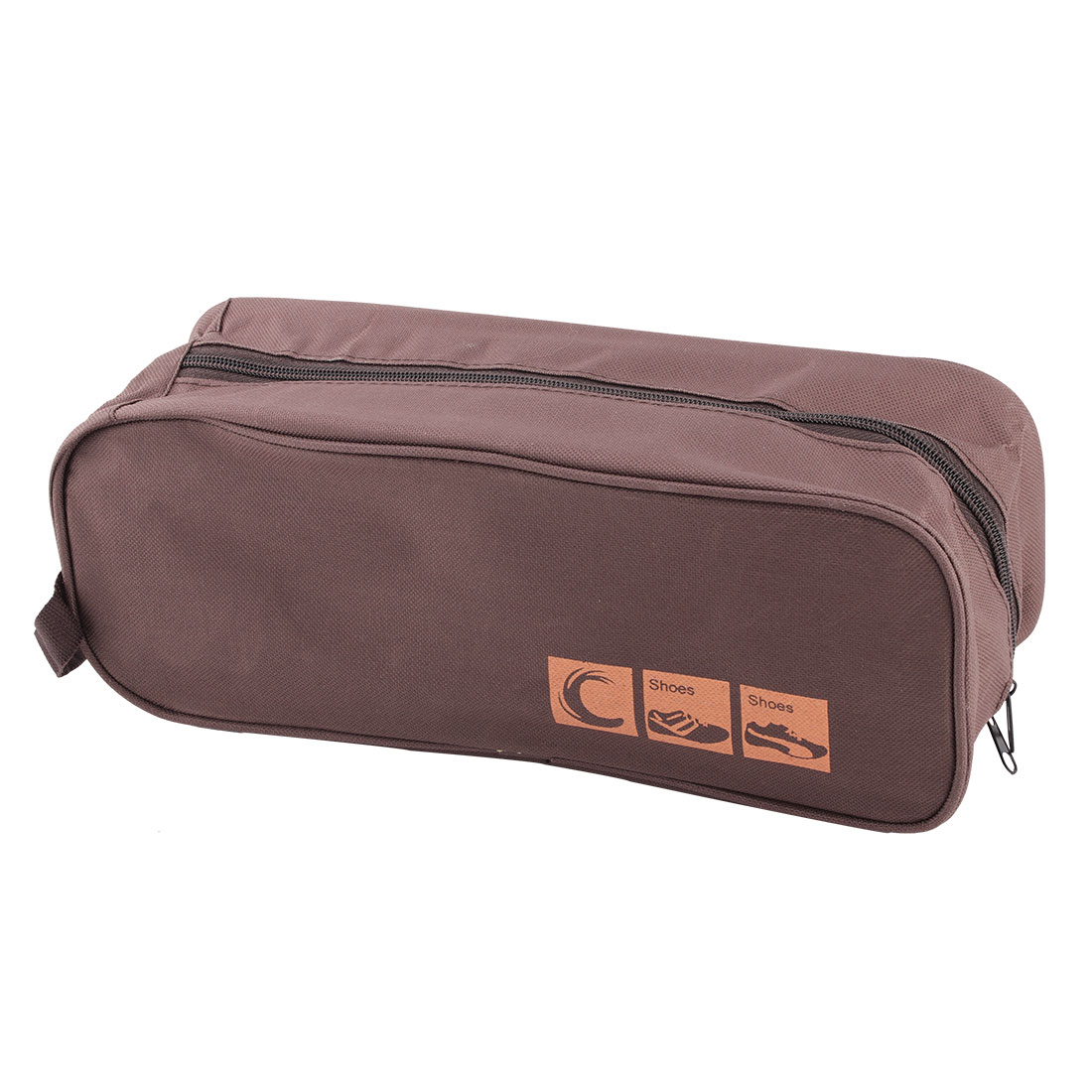 Travel Household Nylon Zippered Clothes Cosmetic Shoes Bag Organizer Brown
