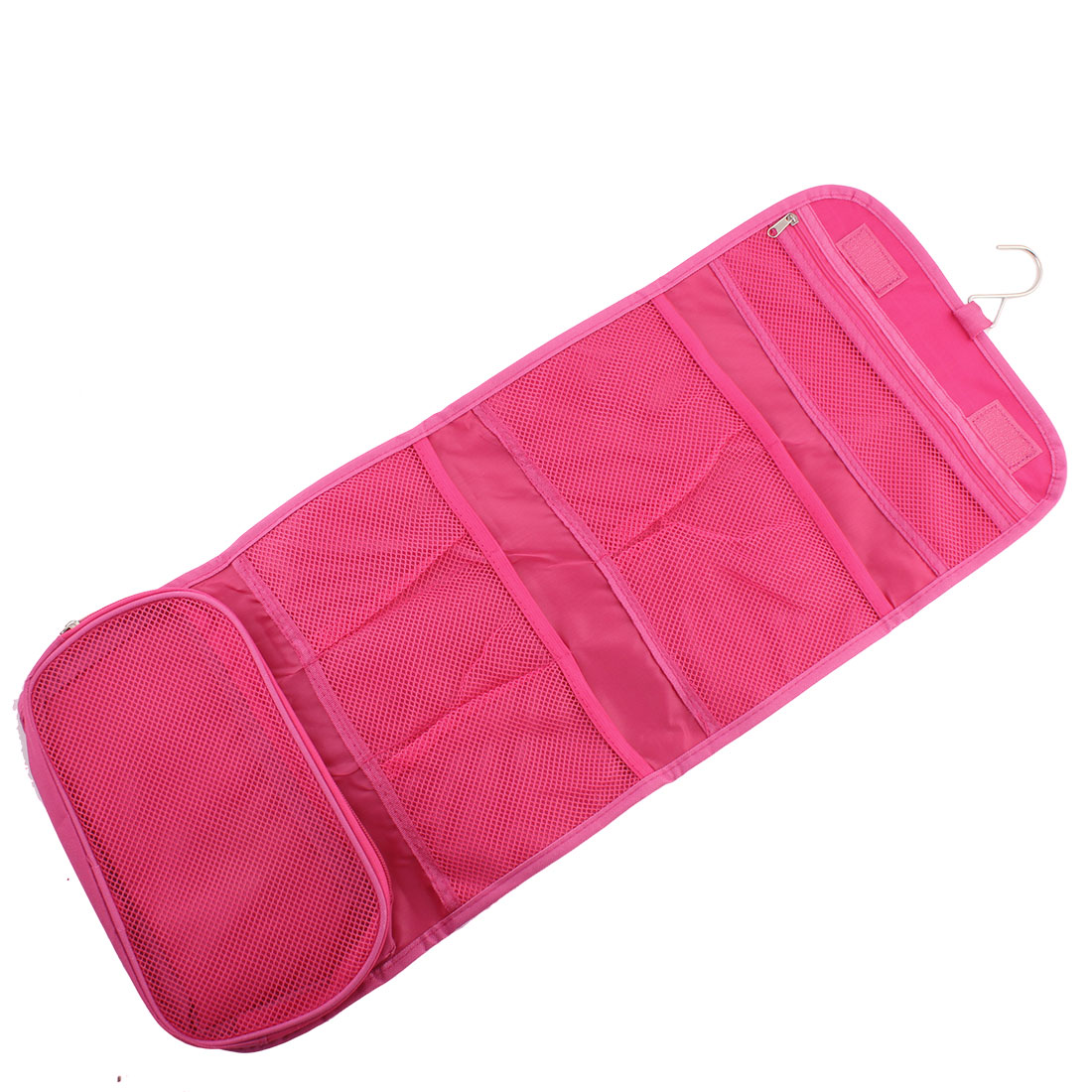 Travel Household Nylon Zippered Clothes Cosmetic Bag Organizer Fuchsia