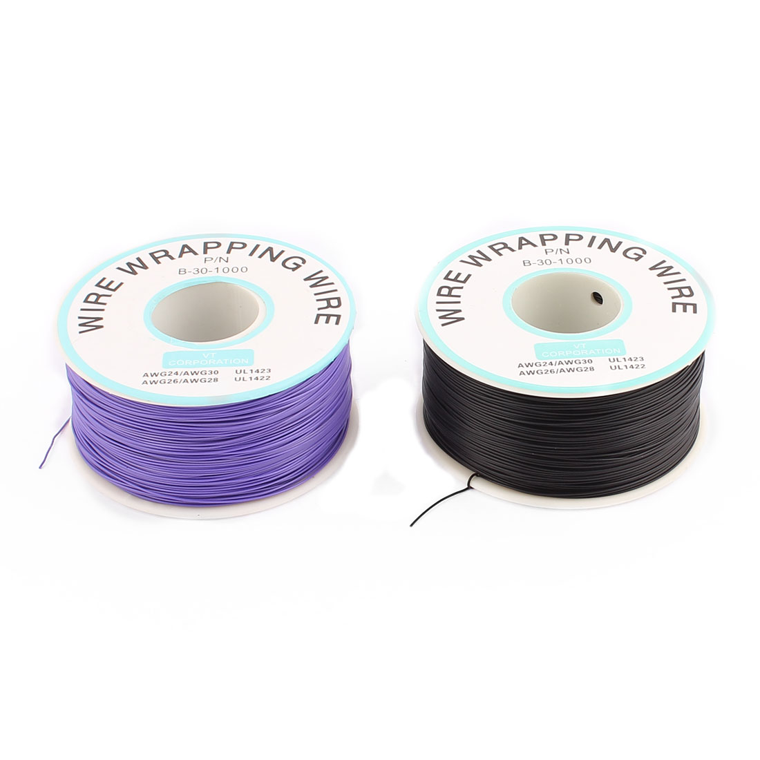 2 Pcs High Temperature Resistant Wraping Wire B-30-1000 Black and Purple