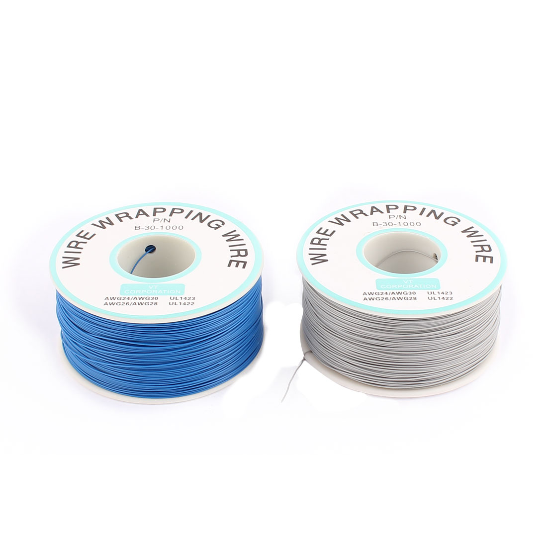 2 Pcs High Temperature Resistant Wraping Wire B-30-1000 Blue and Grey