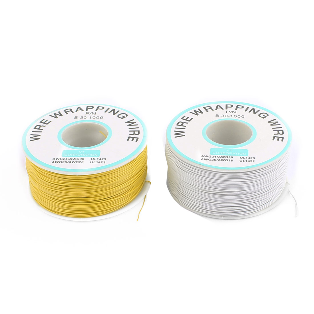 2 Pcs High Temperature Resistant Wraping Wire B-30-1000 Yellow and White