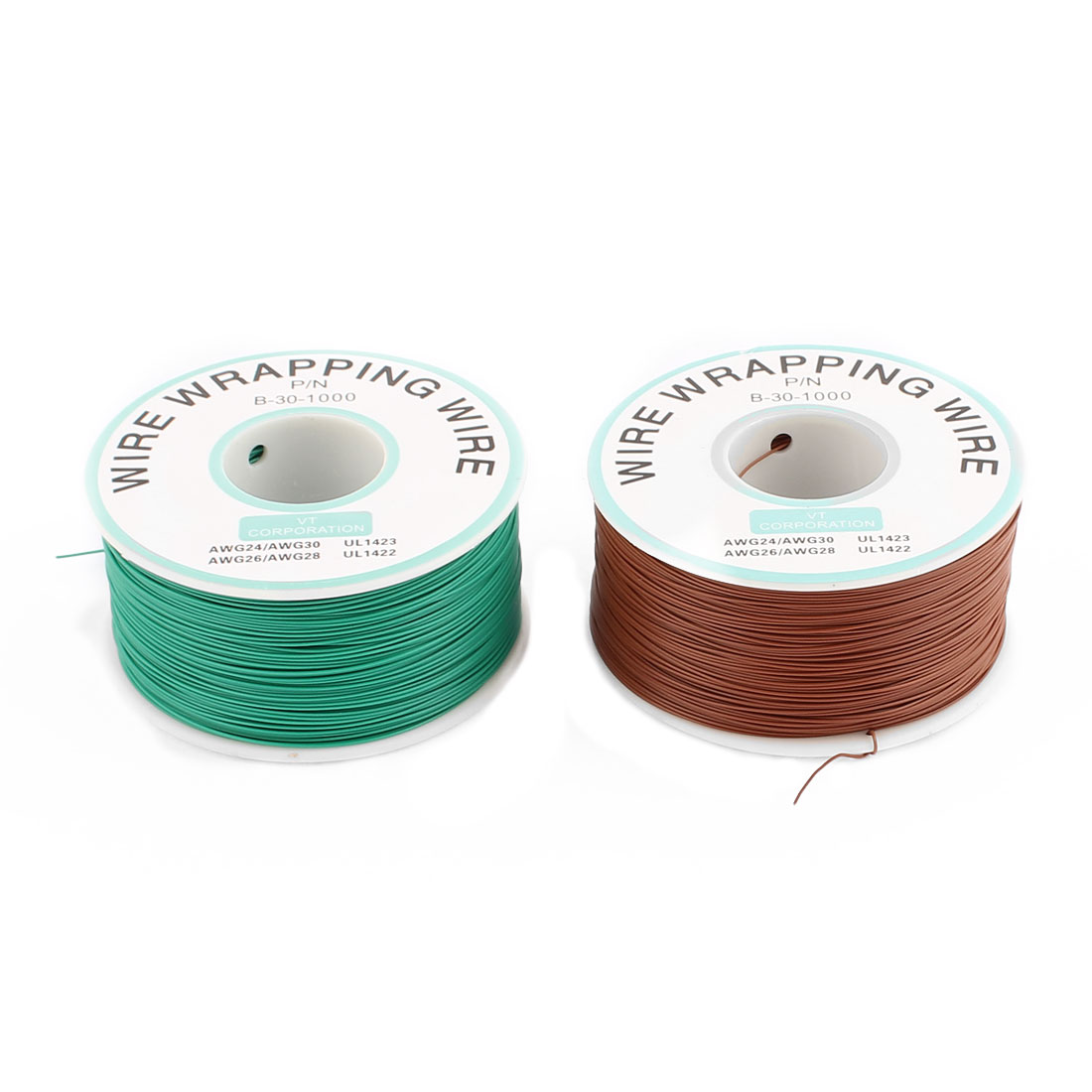 2 Pcs High Temperature Resistant Wraping Wire B-30-1000 Green and Brown
