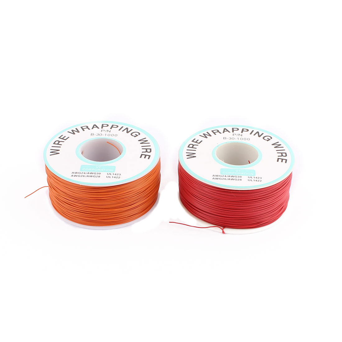 2 Pcs High Temperature Resistant Wraping Wire B-30-1000 Orange and Red