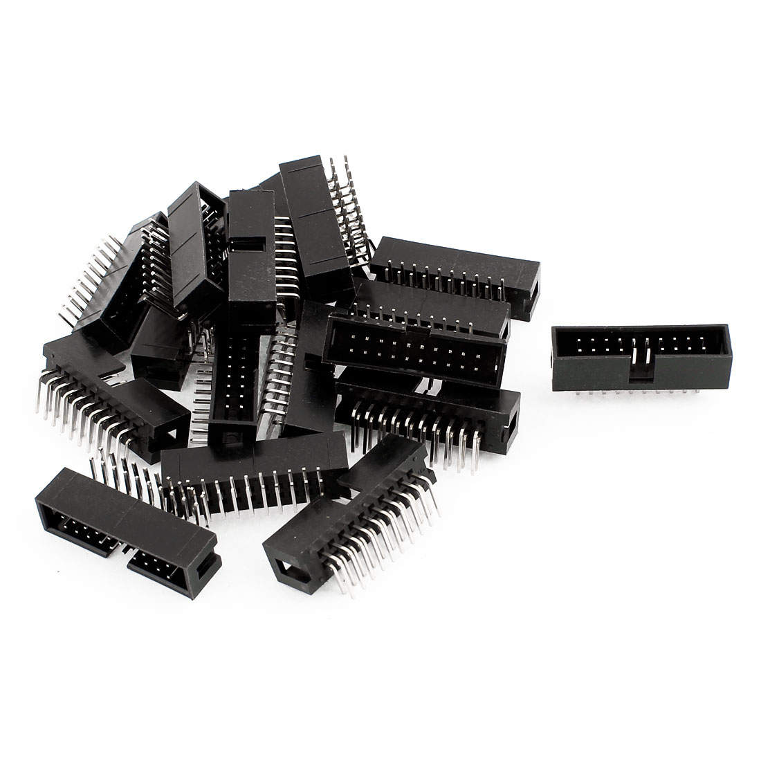 IDC Right Angled Box Header Connector 20 Way Pitch 2.54mm 18 Pcs