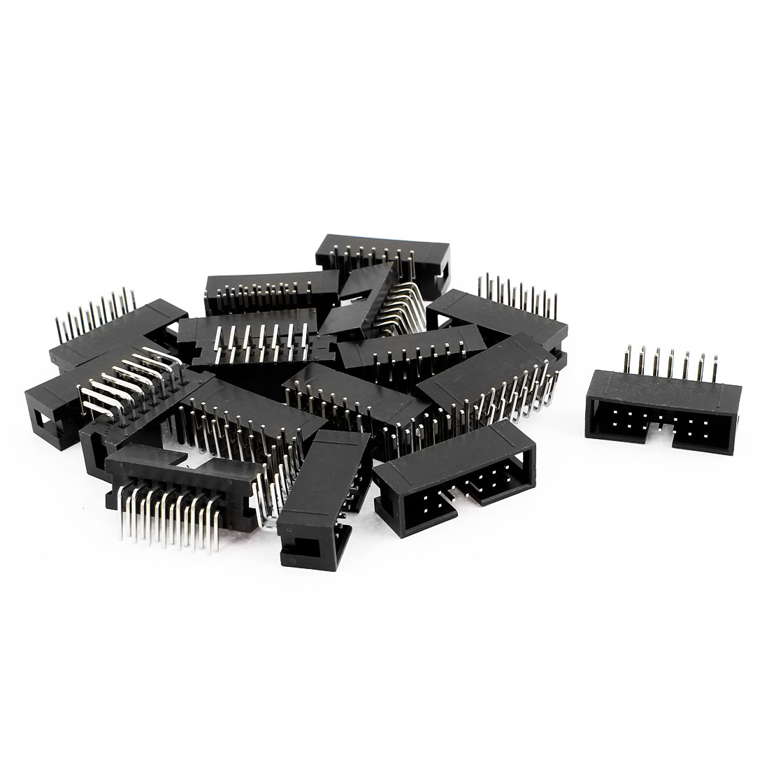 IDC Right Angled Box Header Connector 14 Way Pitch 2.54mm 17 Pcs