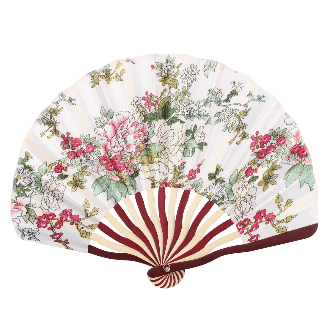 Lady Bamboo Frame Flower Pattern Dance Wedding Party Folding Hand Fan White