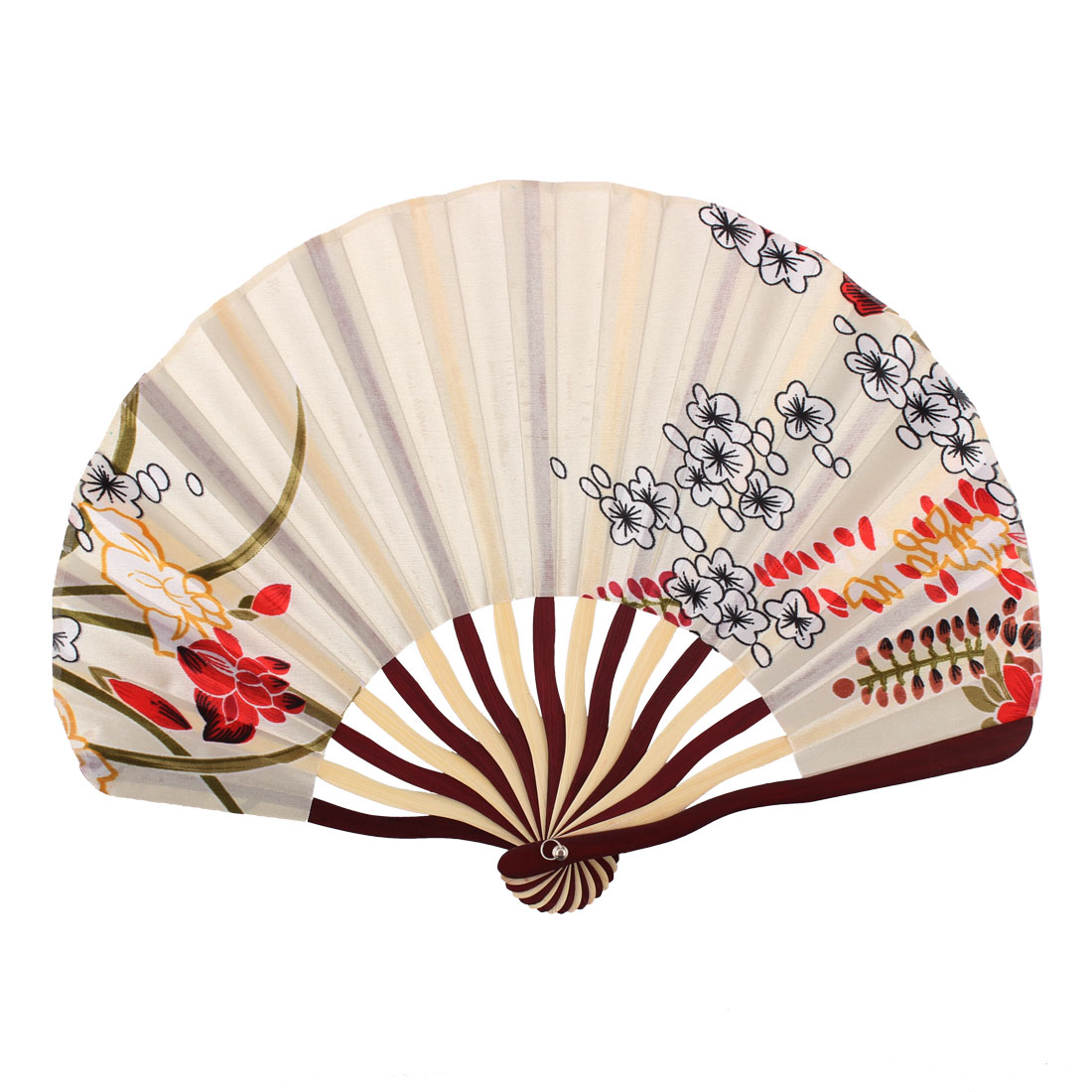 Lady Bamboo Frame Flower Pattern Dance Wedding Party Folding Hand Fan Beige