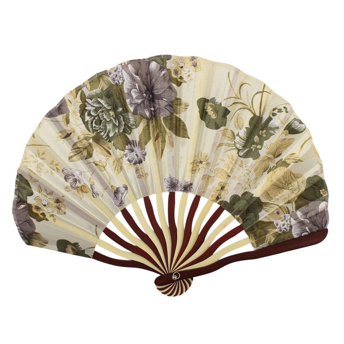Lady Bamboo Frame Flower Pattern Dance Wedding Party Folding Hand Fan Green