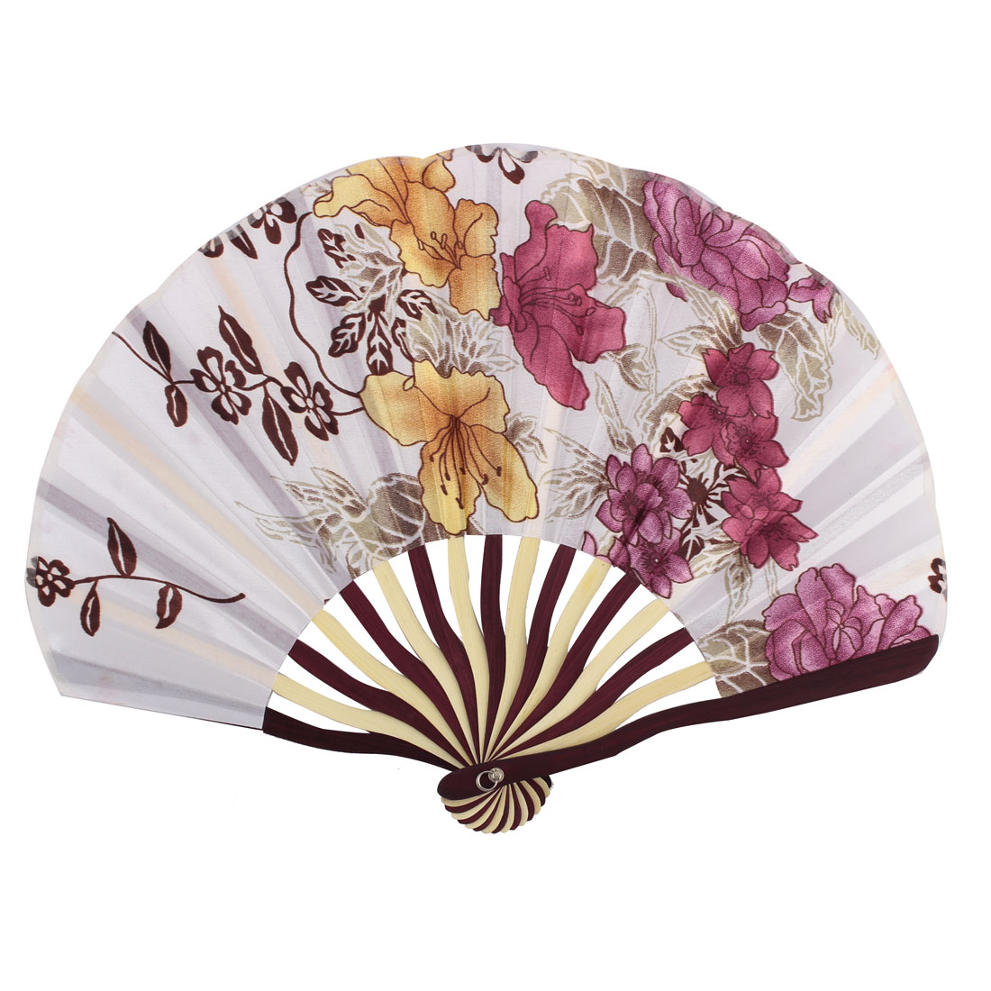 Lady Bamboo Frame Flower Pattern Dance Wedding Party Folding Hand Fan Pink