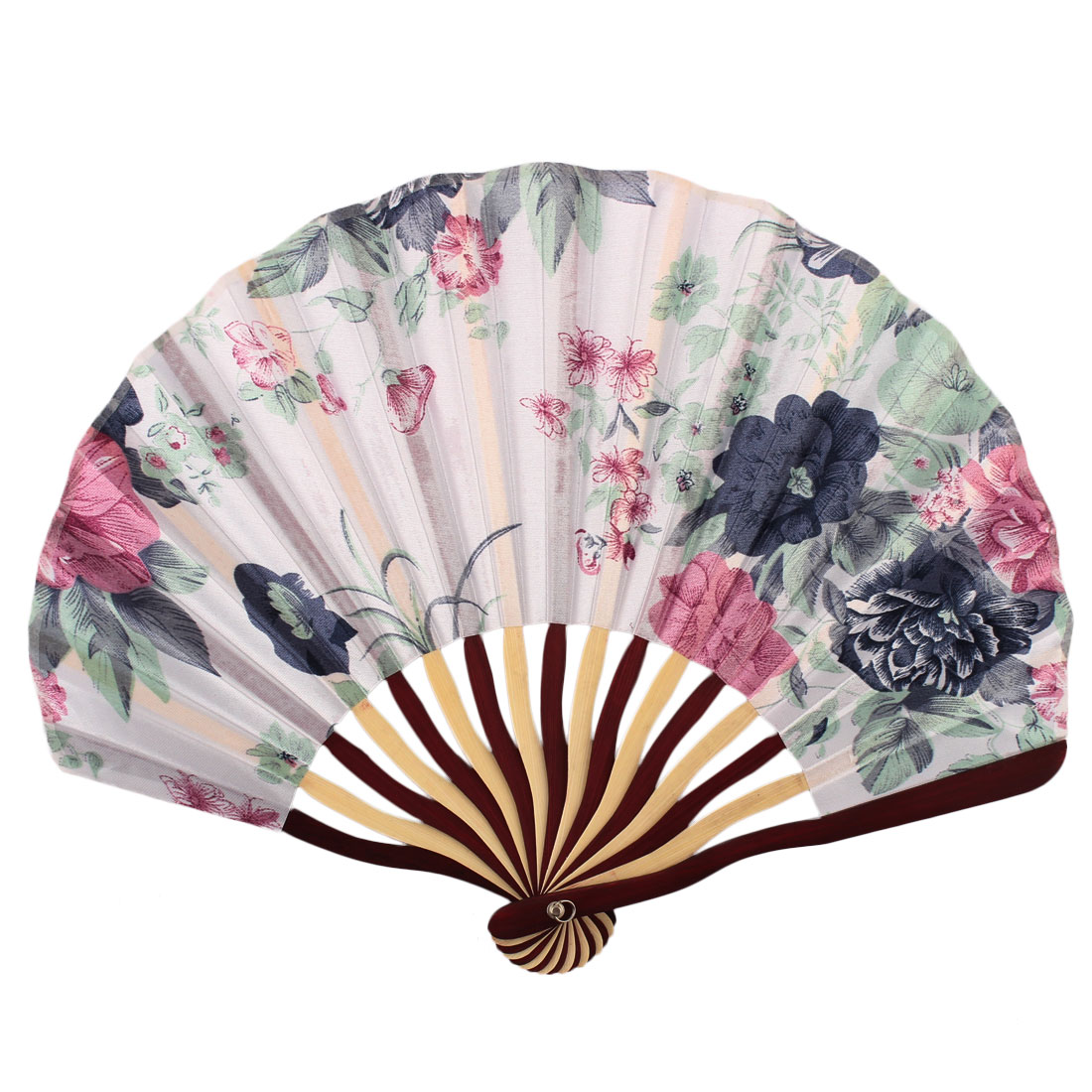 Lady Bamboo Frame Flower Pattern Dancing Wedding Party Folding Hand Fan White