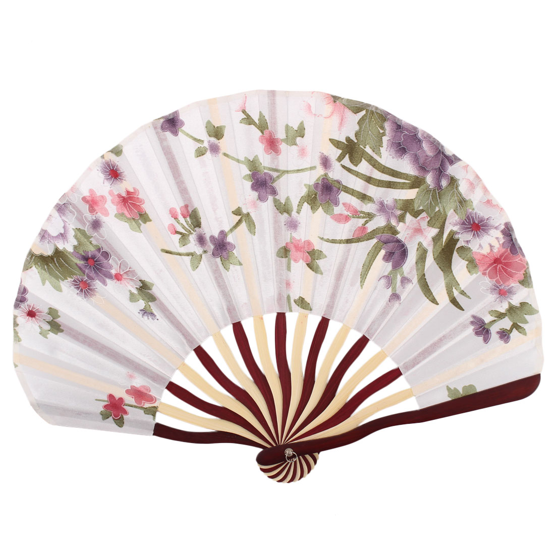 Lady Bamboo Frame Flower Pattern Shopping Dancing Party Folding Hand Fan