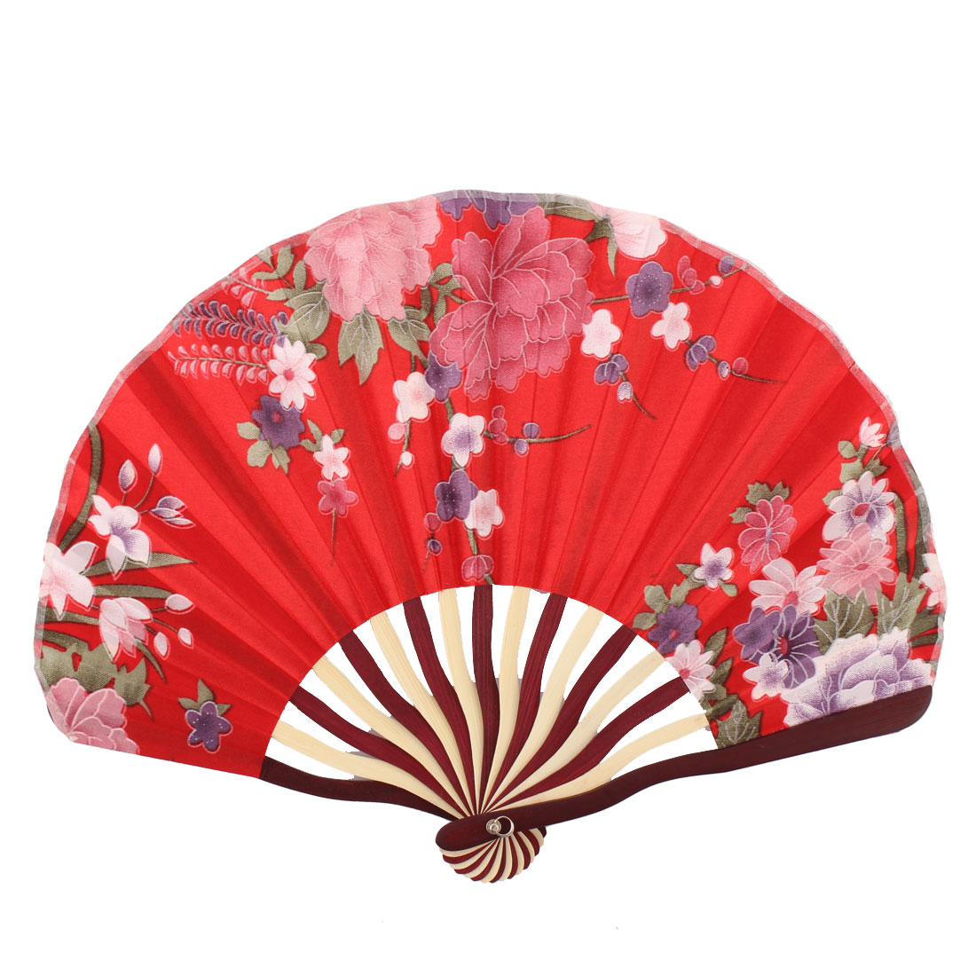 Lady Bamboo Frame Flower Pattern Dancing Wedding Party Folding Hand Fan Red