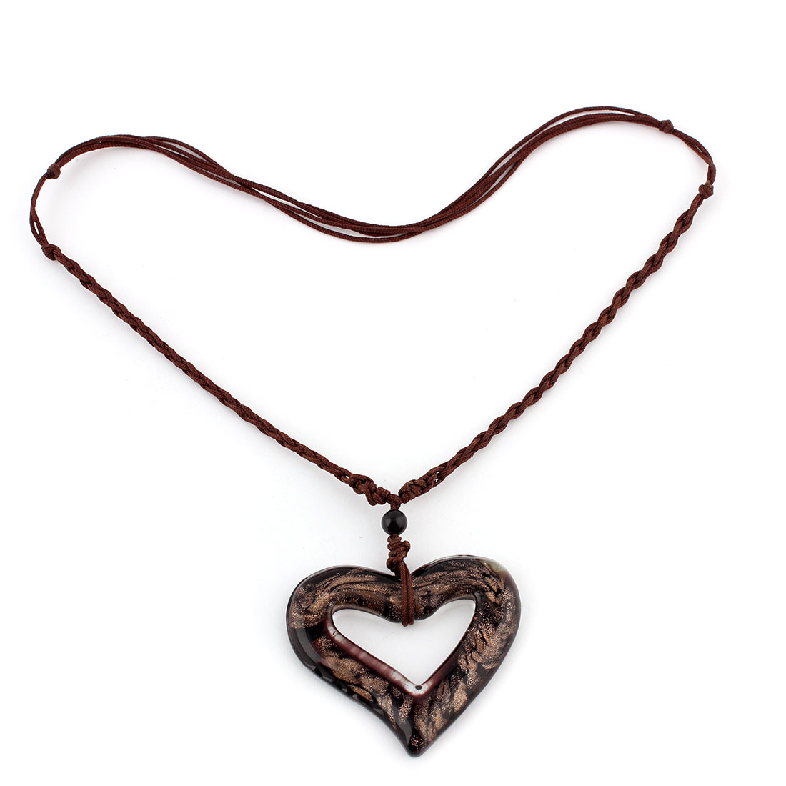 Glass Heart Shape Pendant Party Wedding Adjustable Necklace Black Brown