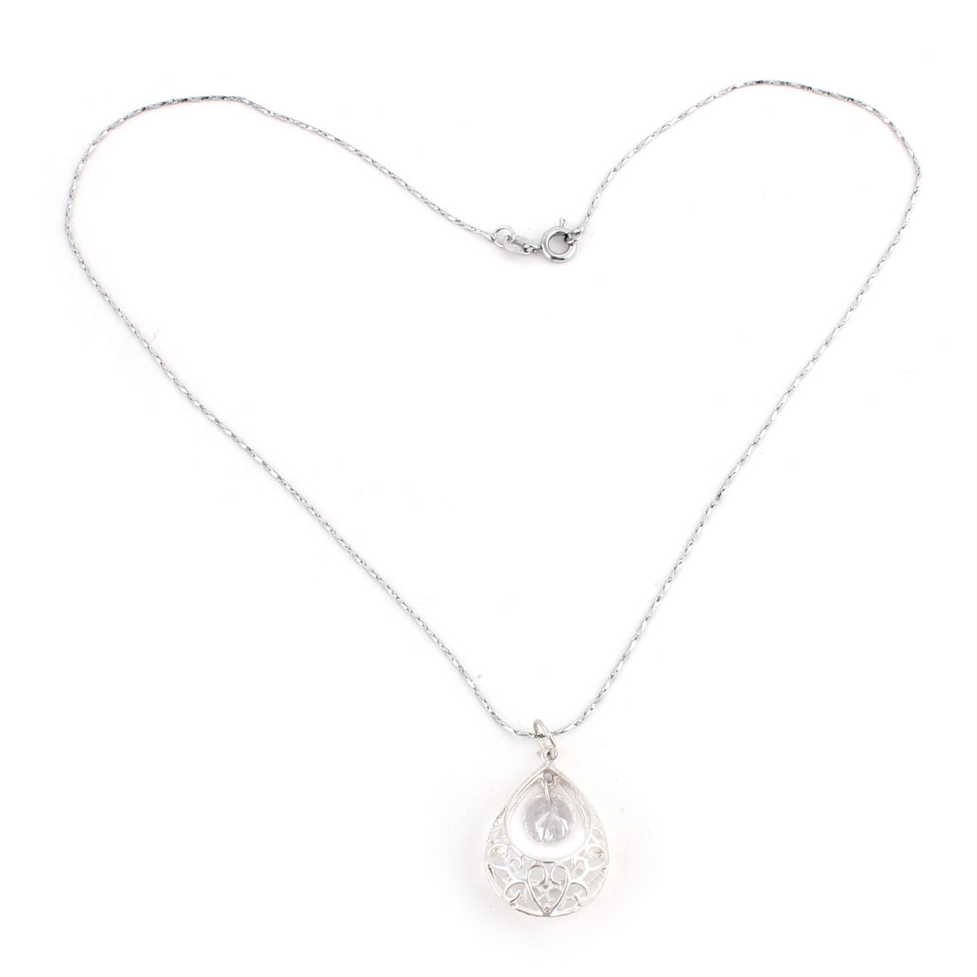 Lady Water Drop Shaped Hollow Out Shining Rhinestone Pendant Necklace Chain