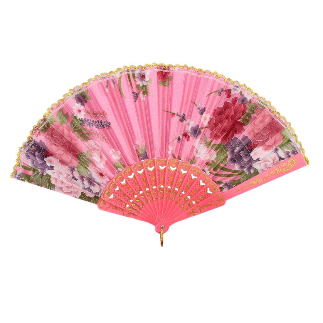 Lady Plastic Frame Flower Pattern Lace Decor Dance Party Folding Hand Fan Pink
