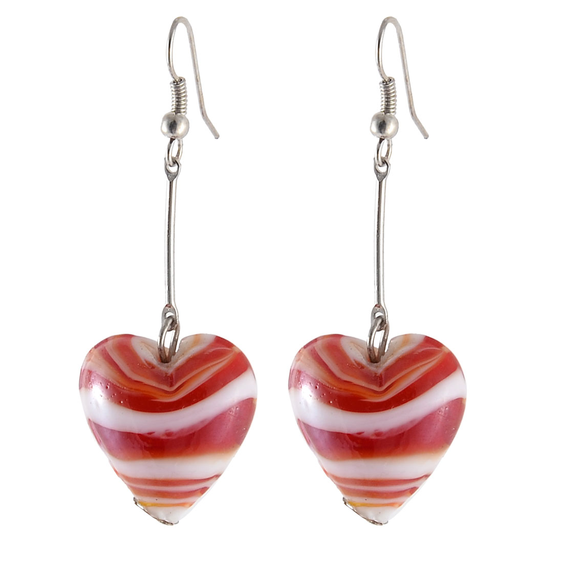 Women Decor Glass Bead Heart Pendant Handcraft Earring Ornament Red White Pair
