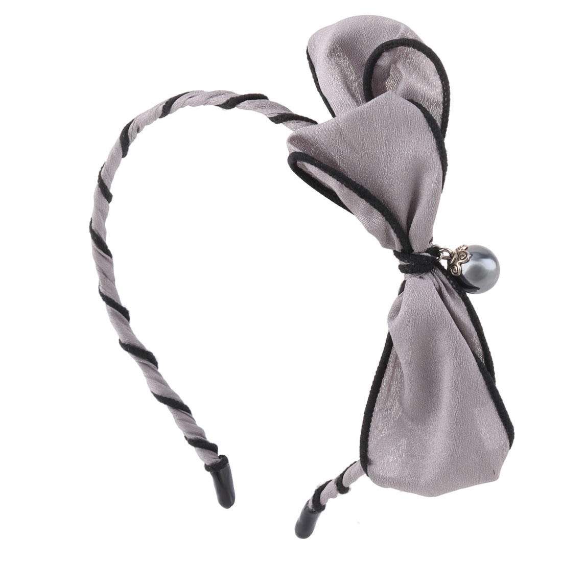 Girls Cloth Alloy Ribbon Bowknots Diamond Imitation Pearl Decor Hair Hoop Black Gray