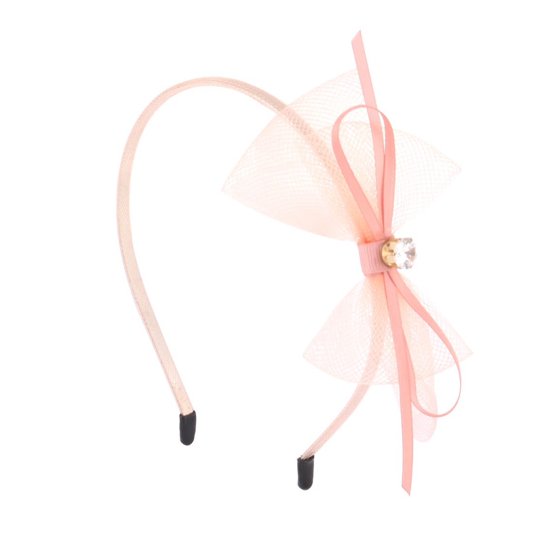 Girls Plastic Alloy Ribbon Bowknots Diamond Decor Hair Hoop Headband Pink