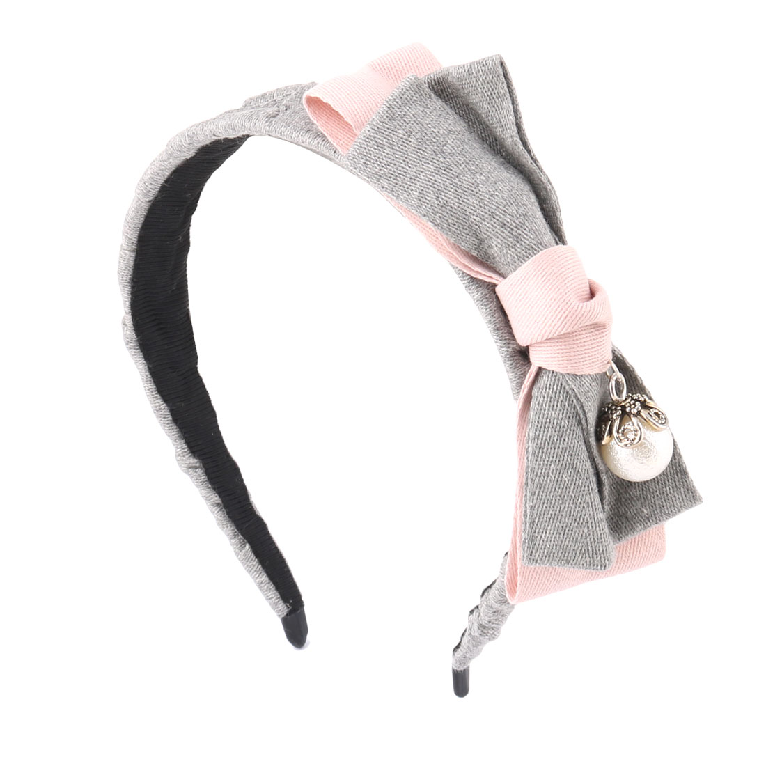 Women Cloth Bow Beading Decor Wide Hair Hoop Headband Ornament Gray Pink