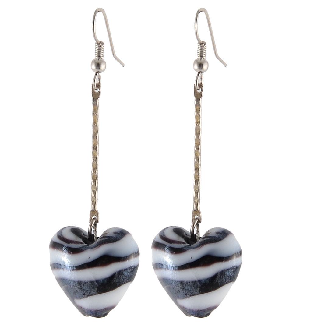 Women Ornament Glass Bead Heart Shape Handcraft Earring Decor Black White Pair
