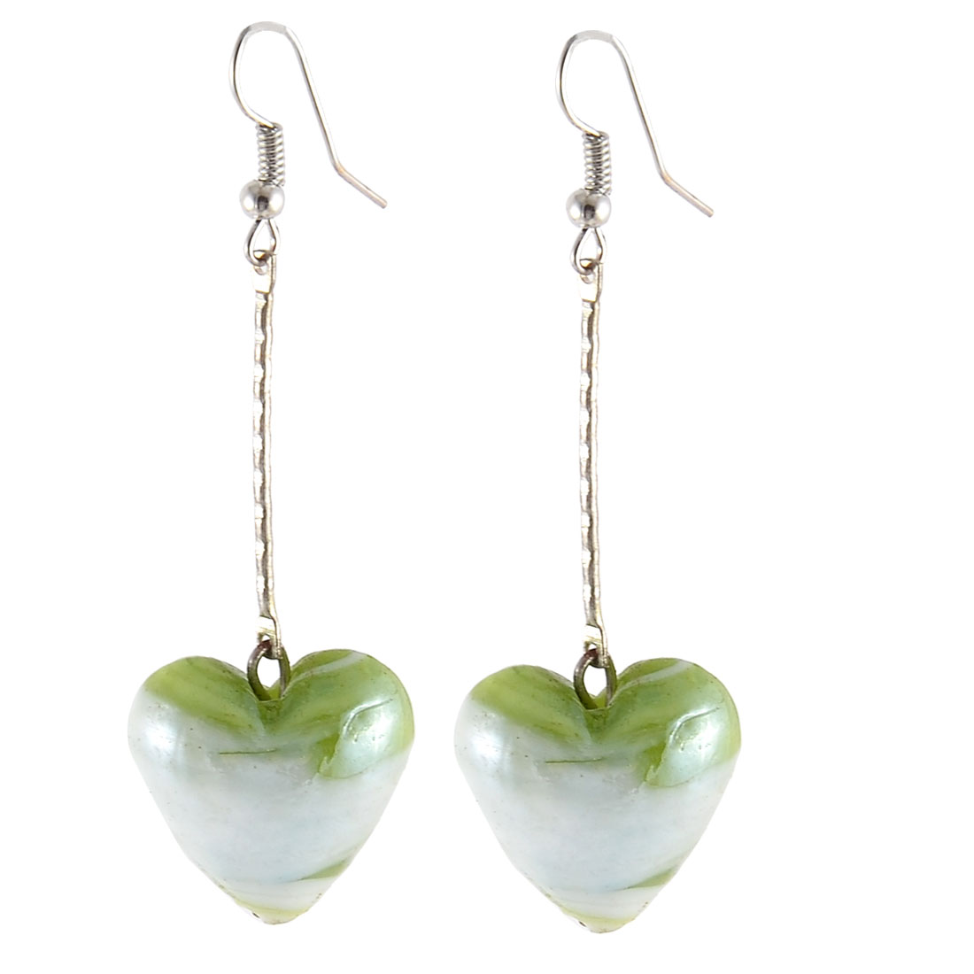 Women Ornament Glass Beads Heart Shape Handcraft Earring Green White Pair