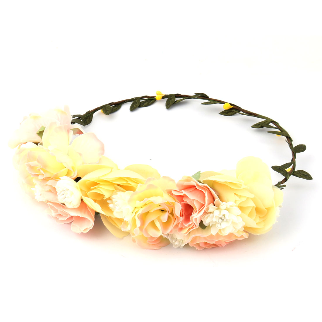 Party Wedding Alloy Ring Cloth Floral Flower Hair Wreaths Headband Yellow Pink