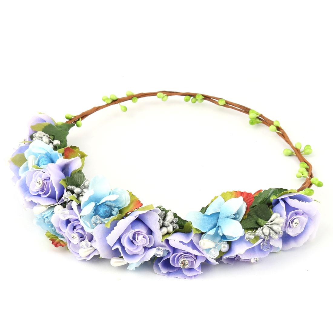 Wedding Women Cloth Imitation Pearl Decor Hair Wreaths Floral Flower Purple Blue